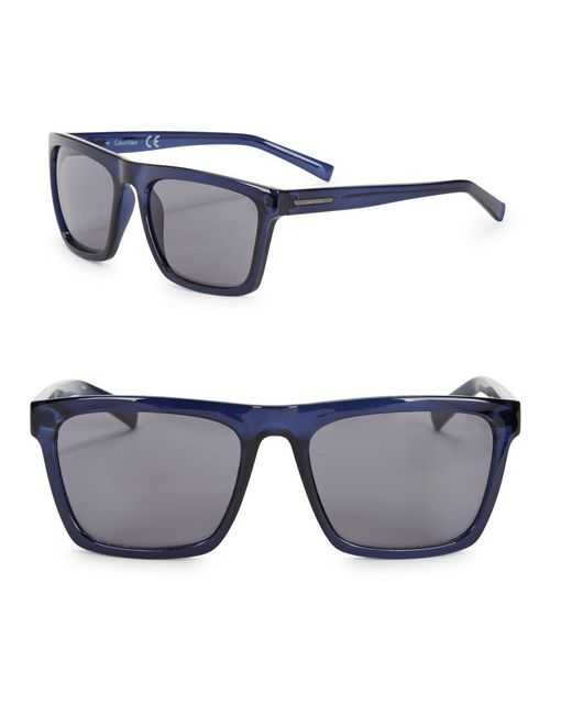 CALVIN KLEIN 205W39NYC - Blue 57mm Square Sunglasses - Lyst