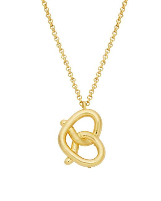 Kate Spade - Metallic Mini Pretzel Pendant Necklace - Lyst