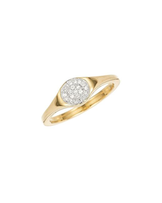 Adina Reyter Metallic 14k Yellow Gold & 0.07 Tcw Small Pave Diamond Disc Signet Ring