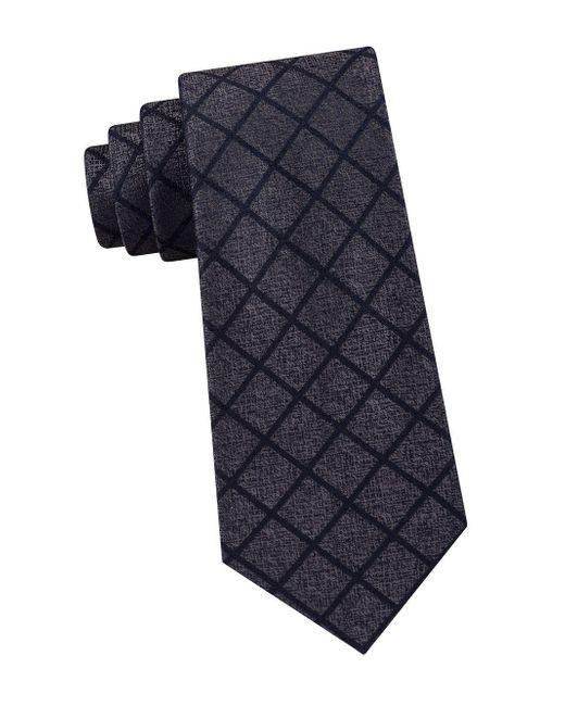 Michael Kors - Gray Silk City Grid Tie for Men - Lyst
