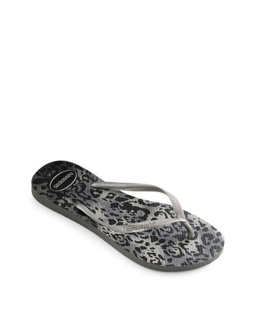 Havaianas - Gray Slim Animal Flip Flops - Lyst