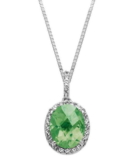 Lord & Taylor - Metallic Sterling Silver And Green Amethyst Pendant Necklace - Lyst