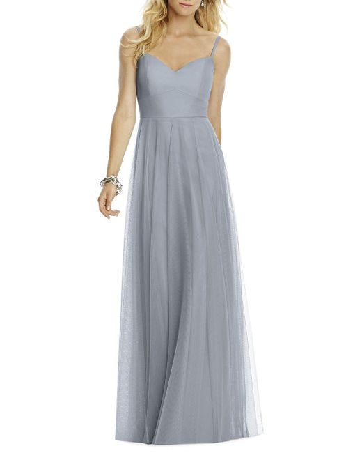 After Six - Gray Sleeveless Tulle A-line Gown - Lyst