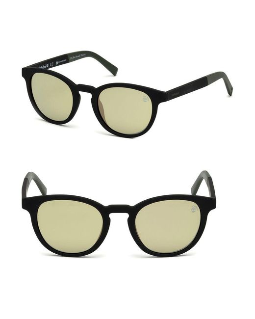 c8fbfd500d6 Timberland 50mm Round Polarized Sunglasses in Black for Men - Lyst