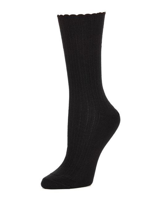 Hue - Black Scalloped Pointelle Socks - Lyst