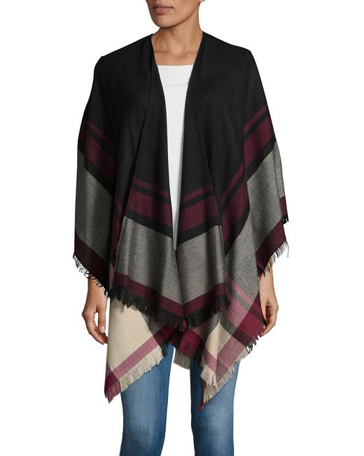 Lord & Taylor | Black Bold Striped Pancho | Lyst