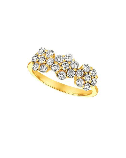 Morris & David - Metallic Diamond And 14k Yellow Gold Tri-floral Ring - Lyst