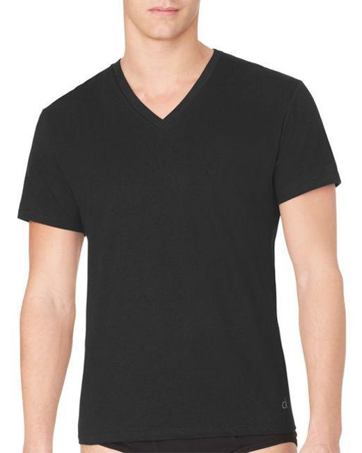 Calvin Klein | Black Three-pack Cotton Classic V-neck Tee for Men | Lyst