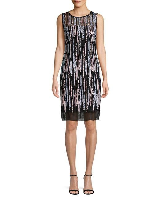 Laundry by Shelli Segal - Sequin Mesh Sleeveless Sheath Dress (black Multi) Dress - Lyst