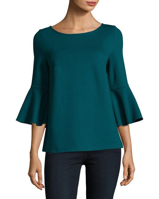 Lord & Taylor | Blue Knit Bell-sleeve Top | Lyst