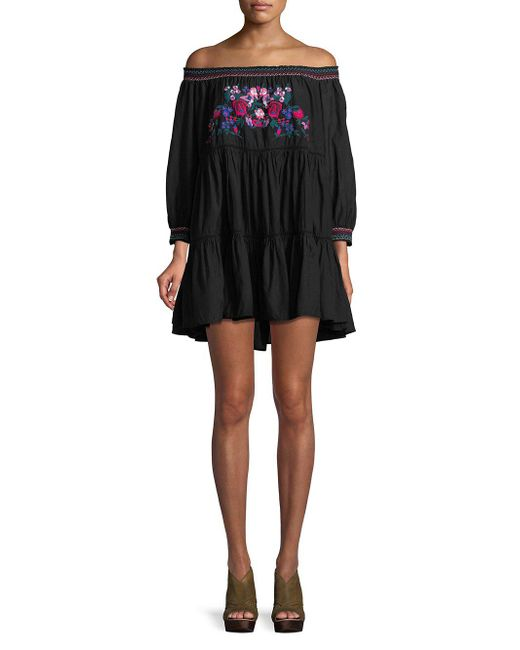 Free People - Black Off-the-shoulder Cotton Dress - Lyst