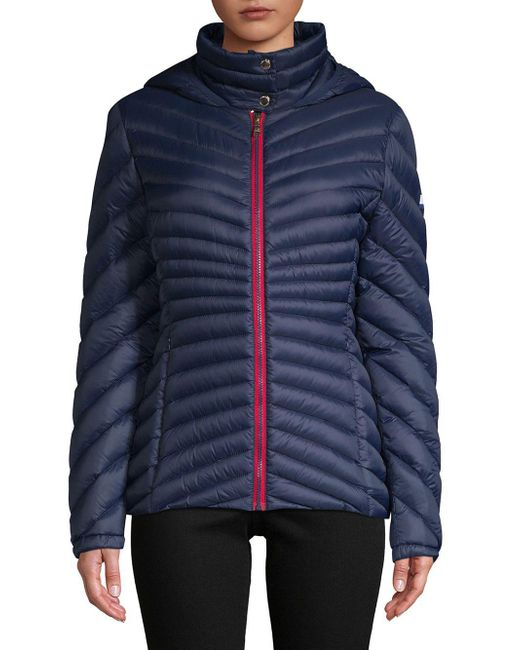 Tommy Hilfiger - Blue Chevron Quilted Packable Coat - Lyst