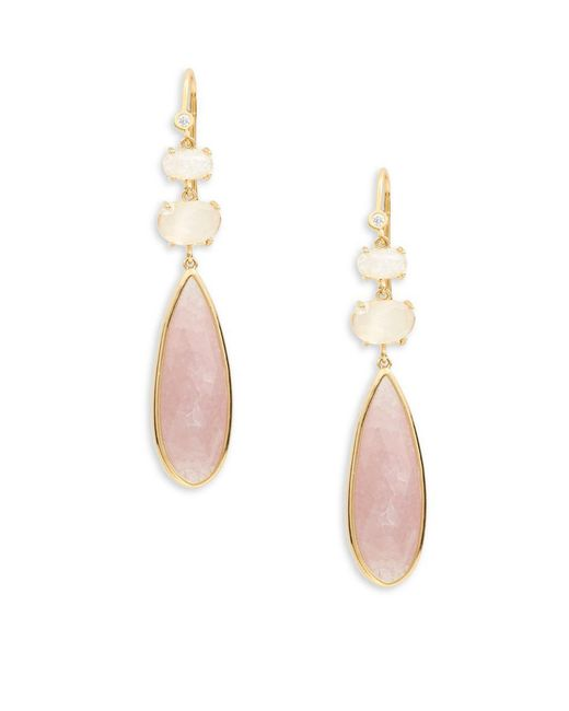 Tai - Pink Faceted Stone Drop Earrings - Lyst