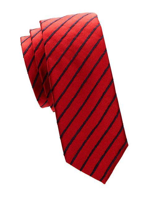 BOSS - Red Contrast Stripe Silk Tie for Men - Lyst