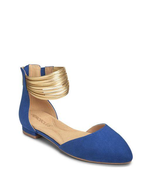 Aerosoles - Blue Girl Talk Metallic-strap Cutout Flats - Lyst