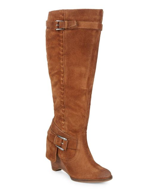 Naughty Monkey - Brown Braid Suede Mid-calf Boots - Lyst