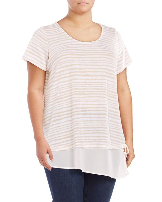 Lord & Taylor - White Mock Layer Striped Top - Lyst