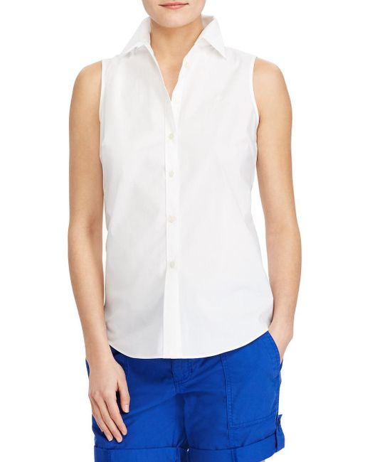 Lauren by Ralph Lauren - White Stretch Sleeveless Button-down Shirt - Lyst