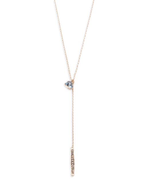 Tai - Metallic Double Stone Lariat Necklace - Lyst