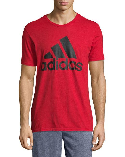 9919026608bd3 Adidas - Red Crewneck Performance Tee for Men - Lyst ...
