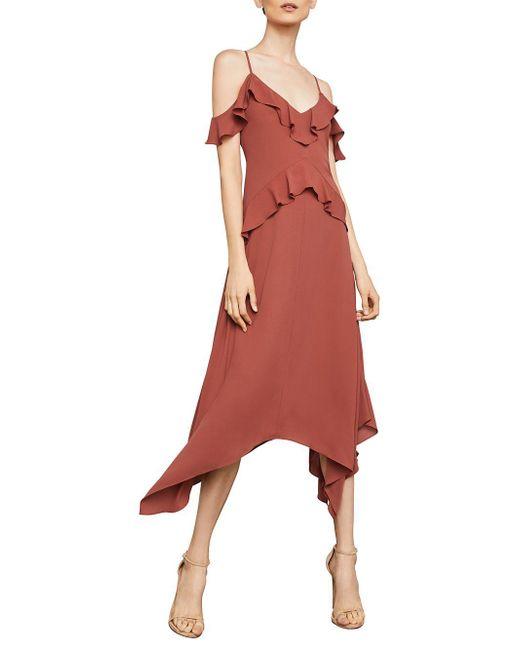 BCBGMAXAZRIA - Red Lissa Handkerchief-hem Slip Dress - Lyst