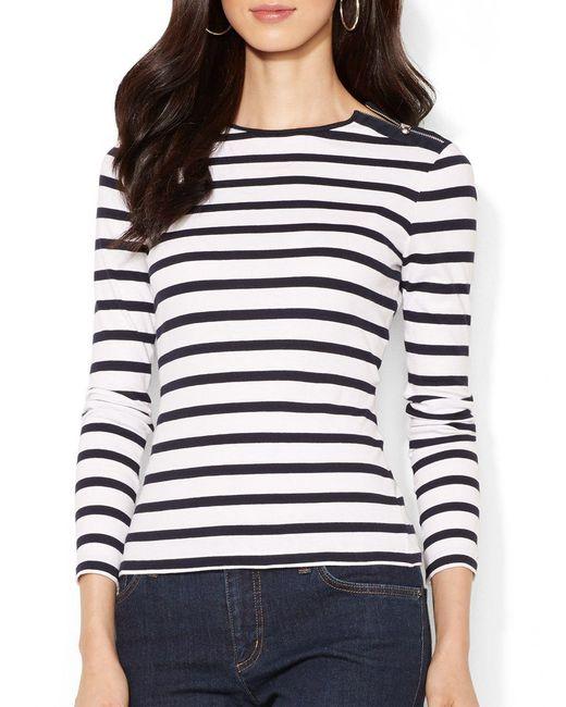 Lauren by Ralph Lauren | Blue Buttoned Shoulder Striped Top | Lyst