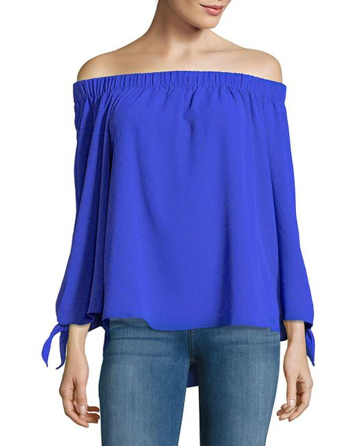 Jones New York - Blue Off-shoulder Tied-sleeve Top - Lyst