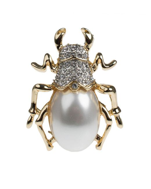 Kenneth Jay Lane - Multicolor Faux Pearl And Crystal Beetle Pin - Lyst