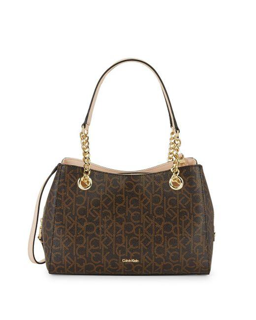 Calvin Klein - Brown Marie Leather Monogram Satchel - Lyst