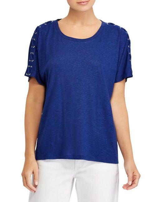 Lauren by Ralph Lauren - Blue Lace-up Short-sleeve Tee - Lyst