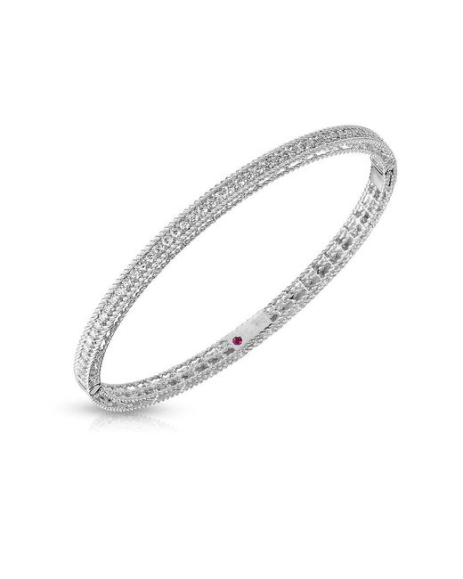 Roberto Coin - Metallic Symphony Diamonds And 18k White Gold Princess Bangle - Lyst