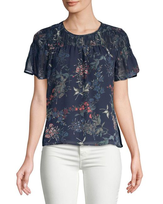 Vince Camuto - Blue Sapphire Blossom Smocked Blouse - Lyst