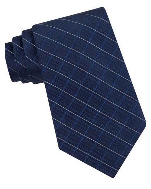 Calvin Klein | Blue Classic Fit Etched Windowpane Plaid Silk Tie for Men | Lyst