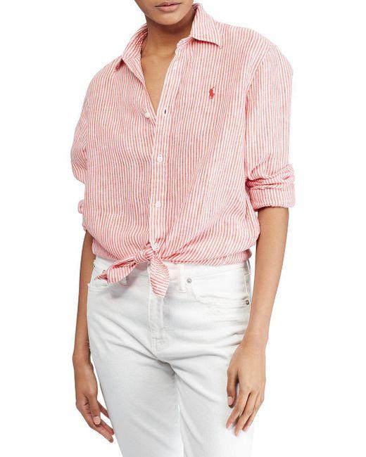 Polo Ralph Lauren - Multicolor Relaxed Striped Linen Button-down Shirt - Lyst