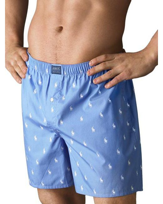 1f31f8532108f8 Lyst - Polo Ralph Lauren Woven Boxer Shorts in Blue for Men - Save 25%