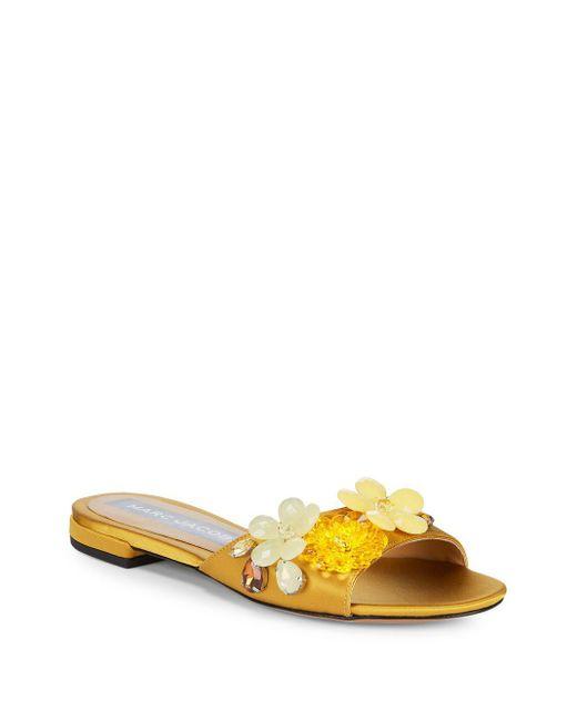 Marc Jacobs - Metallic Clara Embellished Silk Slides - Lyst