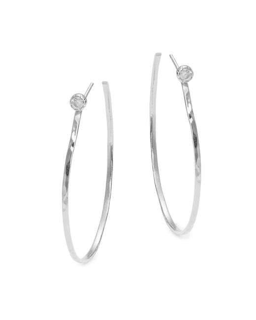 3c9a04887 Hover to Zoom. Tai - Metallic Cubic Zirconia Accented Open Hoop Earrings -  Lyst