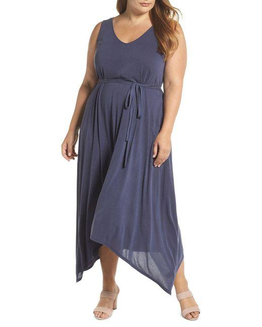 Lucky Brand - Blue Plus Printed Asymmetrical Maxi Dress - Lyst