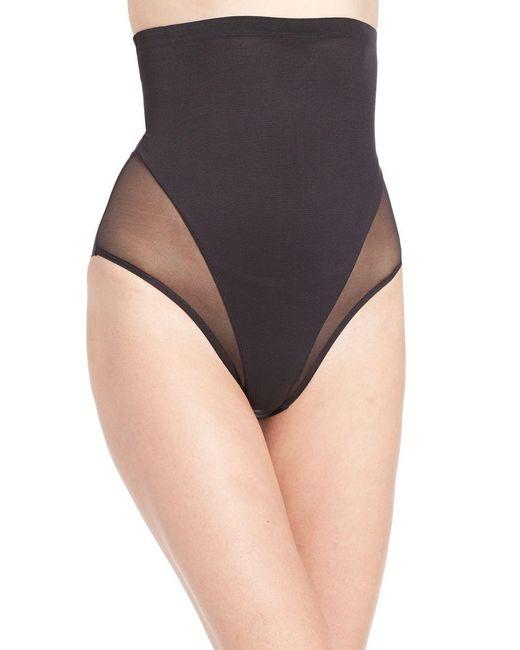Tc Fine Intimates - Black Sheer Shaping High-waist Brief - Lyst