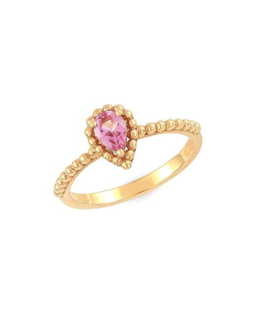 Lord & Taylor - Metallic 14k Yellow Gold And Pear-shape Pink Amethyst Ring - Lyst