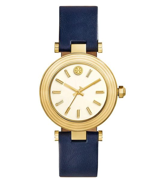 d9be72dc12f Tory Burch - Blue The Classic T Goldtone Stainless Steel And Leather Strap  Watch - Lyst