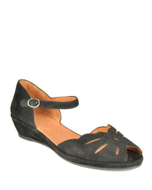 Gentle Souls | Black Lily Moon Suede Open-toe Wedge Sandals | Lyst