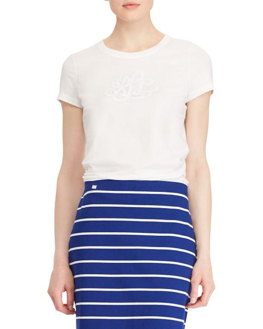 Lauren by Ralph Lauren - White Embroidered Monogram Cotton Tee - Lyst