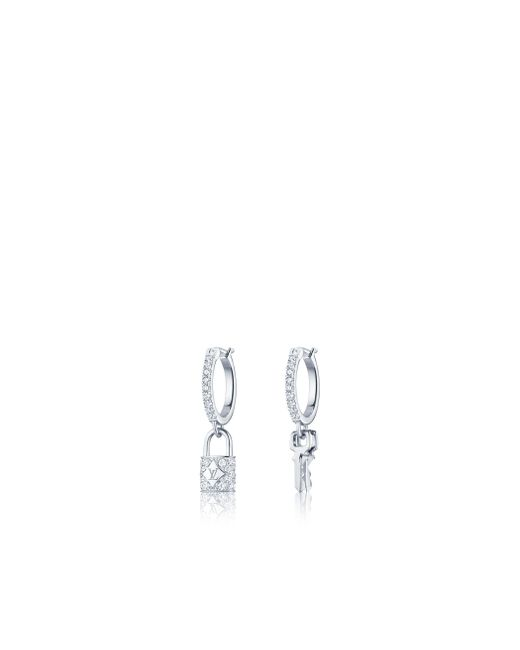 Louis Vuitton | Lockit Hoop Earrings, White Gold And Diamonds | Lyst