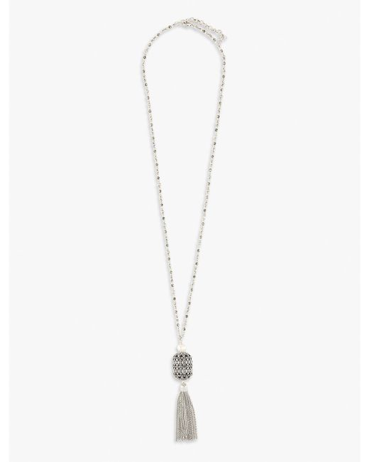 Lucky Brand - Metallic Pearl Pendant Necklace - Lyst