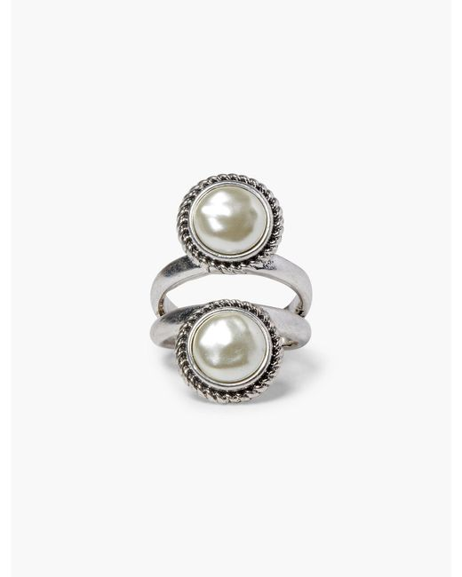 Lucky Brand - Metallic Double Pearl Ring - Lyst