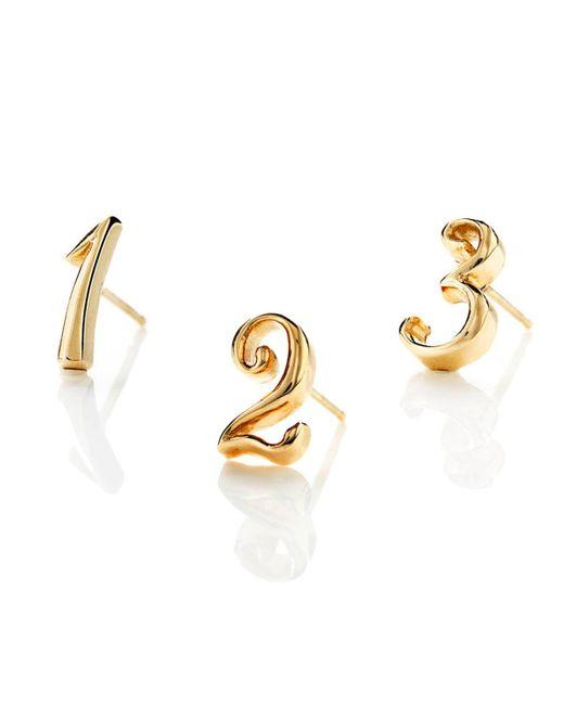 Lulu Frost - Metallic Code Number Earring - 14k Yellow Gold - Lyst