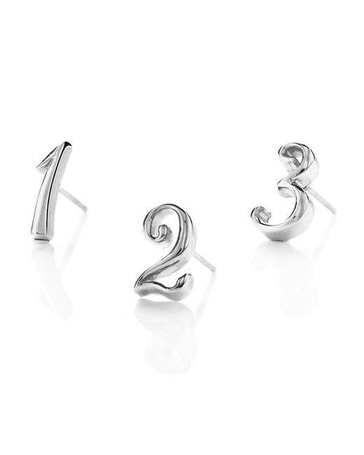 Lulu Frost | Metallic Code Number Earring - Silver | Lyst