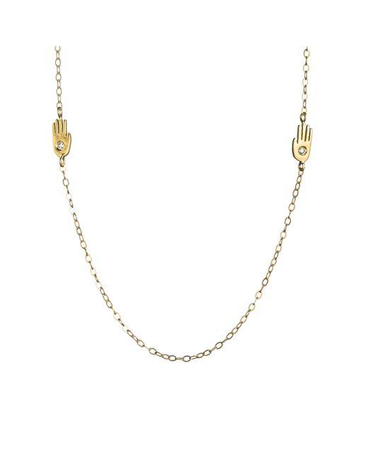 Lulu Frost - Multicolor Code Double Palm Necklace 18k Gold & Diamond - Lyst