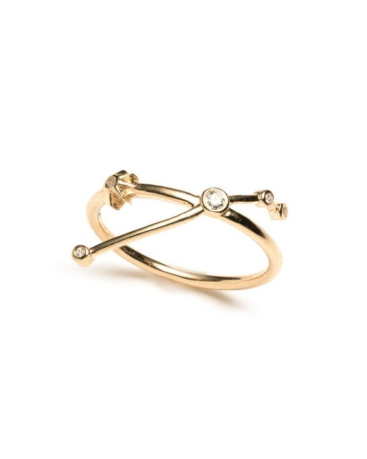 Lulu Frost - Metallic Zodiacs 14k & Diamond Aries + Fire Ring - Lyst